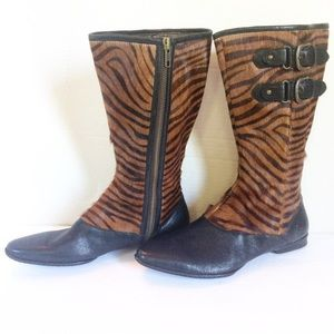 New Born Pony Hair/Leather Tiger Pattern Boots